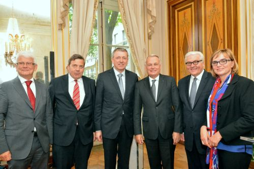 v.li.: Helmut Zilligen, Siegmar Mosdorf, Dr. Peter Kurz, Jean-Marc Ayrault, Frank-Walter Steinmeier, Anni Betz